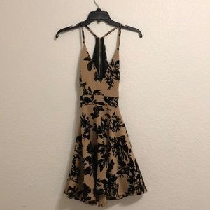 Black and Taupe Hoco Dress